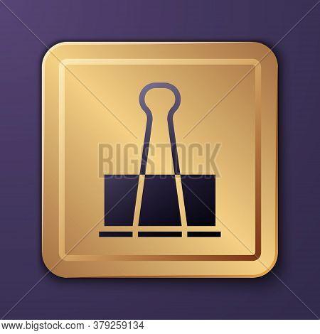 Purple Binder Clip Icon Isolated On Purple Background. Paper Clip. Gold Square Button. Vector Illust