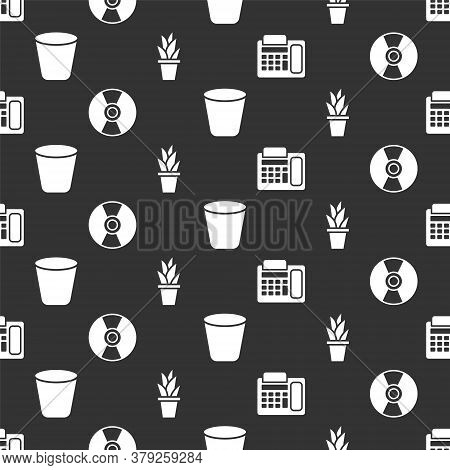 Set Telephone, Cd Or Dvd Disk, Trash Can And Plant In Pot On Seamless Pattern. Vector