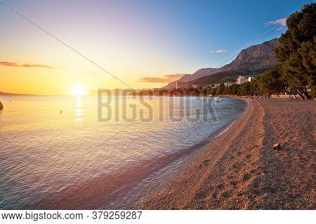 Makarska Pebble Beach And Biokovo Mountain Sunset View, Dalmatia Region Of Croatia