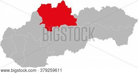 Zilina Region Isolated On Slovakia Map. Gray Background. Backgrounds And Wallpapers.