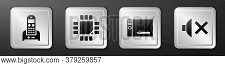 Set Telephone, Processor With Microcircuits Cpu, Graphic Tablet And Speaker Mute Icon. Silver Square