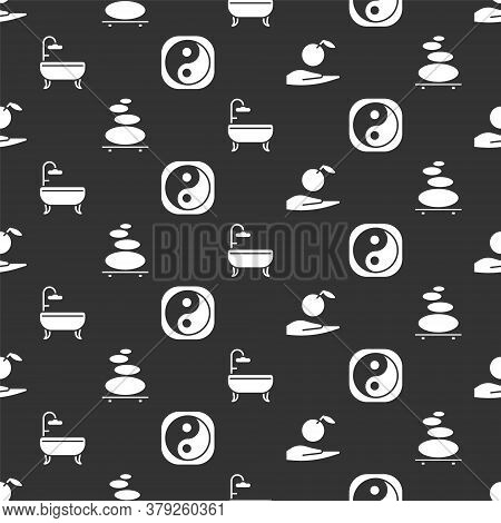 Set Apple In Hand, Stack Hot Stones, Bathtub And Yin Yang On Seamless Pattern. Vector