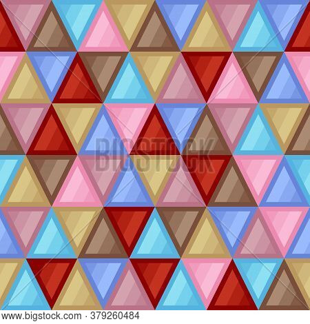 Universal Abstract Seamless Pattern Of Triangular Geometric Elements Of Beige, Blue, Brown, Red, Pin