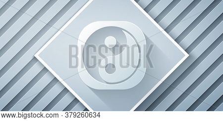 Paper Cut Yin Yang Symbol Of Harmony And Balance Icon Isolated On Grey Background. Paper Art Style.