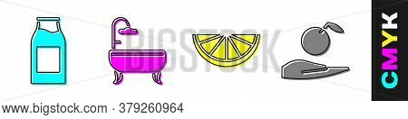 Set Bottle With Milk, Bathtub, Citrus Fruit And Apple In Hand Icon. Vector