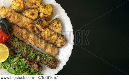 Famous Traditional Arabic, Turkish, Israel Food. Grilled Chicken Shashlik, Lamb, Beef Kofta Kebab, T