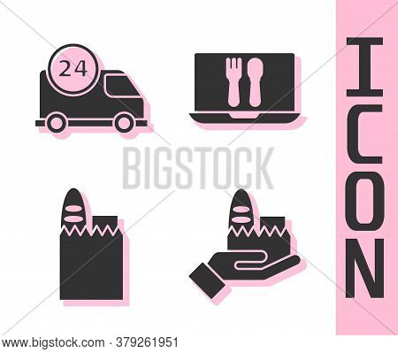 Set Online Ordering And Delivery, Fast Delivery By Car, Shopping Bag And Food And Online Ordering An