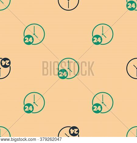 Green And Black Clock 24 Hours Icon Isolated Seamless Pattern On Beige Background. All Day Cyclic Ic
