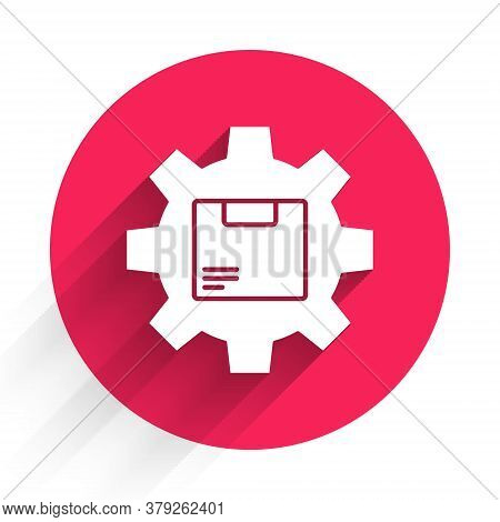 White Gear Wheel With Package Box Icon Isolated With Long Shadow. Box, Package, Parcel Sign. Deliver