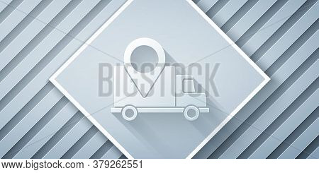 Paper Cut Delivery Tracking Icon Isolated On Grey Background. Parcel Tracking. Paper Art Style. Vect