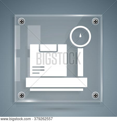 White Scale With Cardboard Box Icon Isolated On Grey Background. Logistic And Delivery. Weight Of De