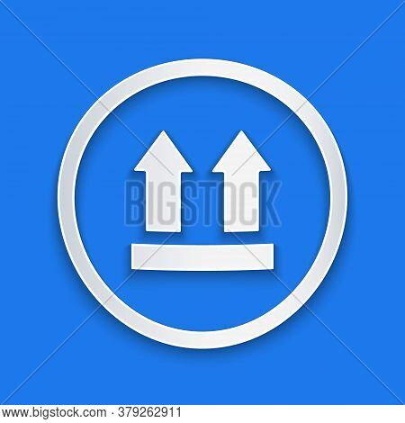 Paper Cut This Side Up Icon Isolated On Blue Background. Two Arrows Indicating Top Side Of Packaging