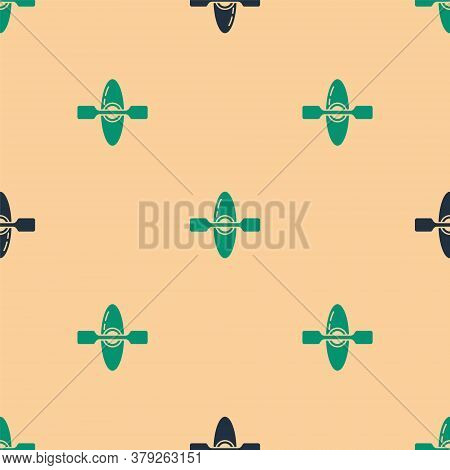 Green And Black Kayak And Paddle Icon Isolated Seamless Pattern On Beige Background. Kayak And Canoe