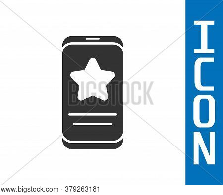 Grey Mobile Phone With Review Rating Icon Isolated On White Background. Concept Of Testimonials Mess