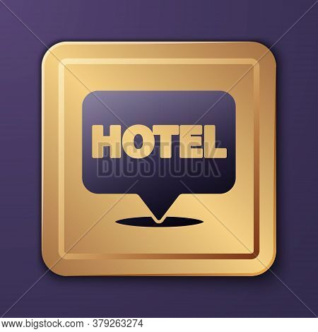 Purple Location Hotel Icon Isolated On Purple Background. Concept Symbol For Hotel, Hostel, Travel,