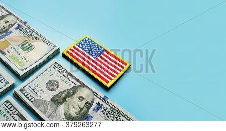 Va Loan Concept. Usa Flag And Stacks Of Cash.