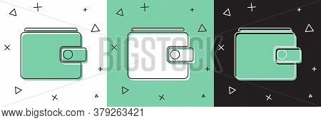 Set Wallet Icon Isolated On White And Green, Black Background. Purse Icon. Cash Savings Symbol. Vect