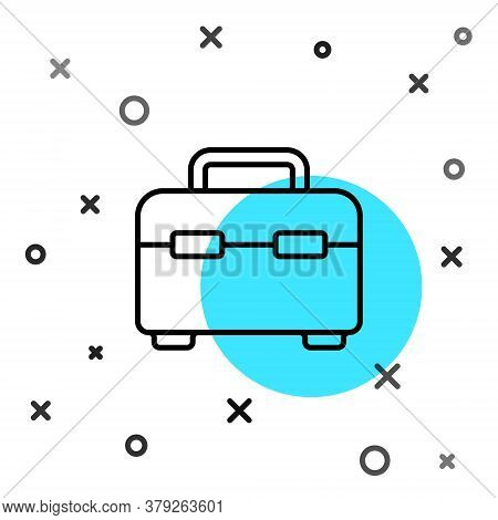 Black Line Toolbox Icon Isolated On White Background. Tool Box Sign. Random Dynamic Shapes. Vector I