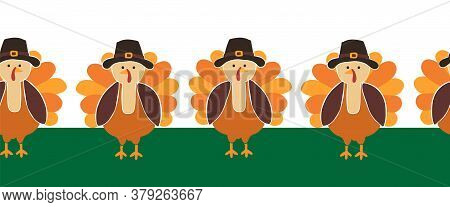 Turkey Seamless Vector Border. Cute Thanksgiving Repeating Pattern. Use For Thanksgiving Greeting Ca