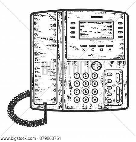 Office Telephone. Business Phone. Sketch Scratch Board Imitation.