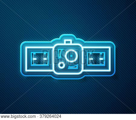 Glowing Neon Line Smartwatch Icon Isolated On Blue Background. Vector Illustration