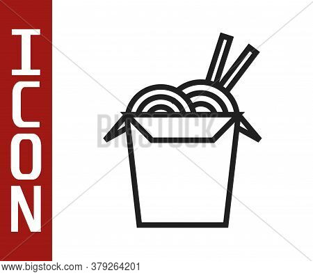 Black Line Asian Noodles In Paper Box And Chopsticks Icon Isolated On White Background. Street Fast