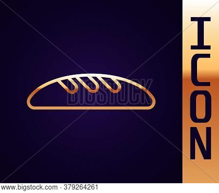 Gold Line Bread Loaf Icon Isolated On Black Background. Vector Illustration