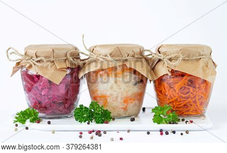 Pickled Fermented Vegetables In Glass Jars Ready For Eating