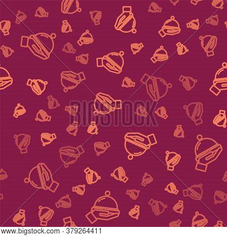 Brown Line Covered With A Tray Of Food Icon Isolated Seamless Pattern On Red Background. Tray And Li