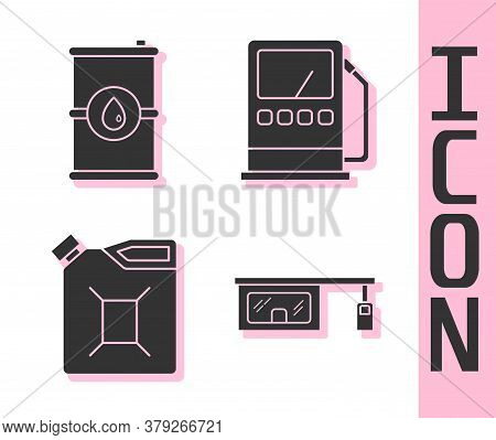 Set Gas Filling Station, Barrel Oil, Canister For Gasoline And Petrol Or Gas Station Icon. Vector