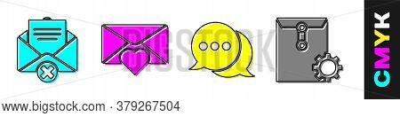 Set Delete Envelope, Envelope With Valentine Heart, Speech Bubble Chat And Envelope Setting Icon. Ve