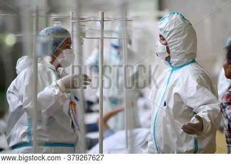 A Medical Professional Work In The Temporary Covid-19 Hospital Center In Bishkek, On July 8, 2020. T