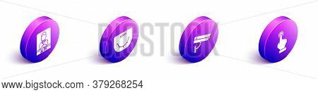 Set Isometric Casino Dealer, Poker Table, Security Camera And Hand Holding Casino Chips Icon. Vector