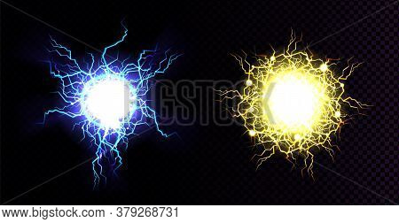 Lightning Ball, Electric Strike Impact. Vector Realistic Set Of Sparking Electrical Discharge, Blue