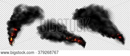 Black Smoke With Fire, Dark Fog Clouds Or Steam Trails. Industrial Smog, Factory Or Plant Environmen