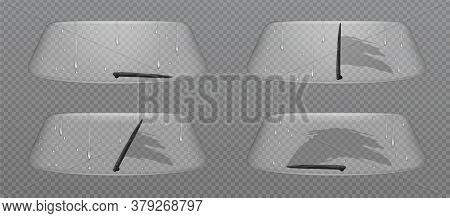 Car Wiper Clean Windscreen, Glass Windshield With Rain Drops, Automobile Front Window Automatic Clea