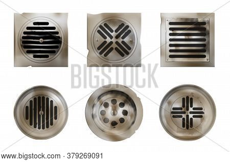 Old Shower Drainage Holes With Rusty Or Dirty Covers Isolated On White Background, Steel Drain Sewer
