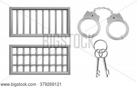 Steel Lattice For Prison Windows, Handcuffs And Keys. Jail Grid And Manacles Stuff For Criminals And