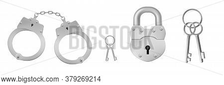 Closed Handcuffs And Padlock With Keys. Concept Of Police Arrest, Jail Custody. Vector Realistic Set