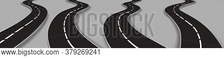 Road, Winding Highway Isolated On Transparent Background. Journey Two Lane Curve Asphalt Pathway Goi