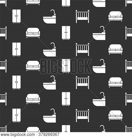 Set Baby Crib Cradle Bed, Sofa, Wardrobe And Washbasin With Water Tap On Seamless Pattern. Vector