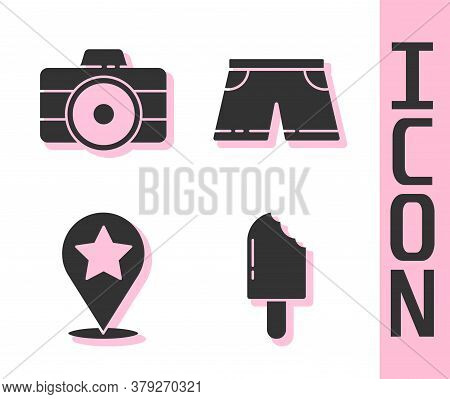 Set Ice Cream, Photo Camera, Map Pointer With Star And Swimming Trunks Icon. Vector