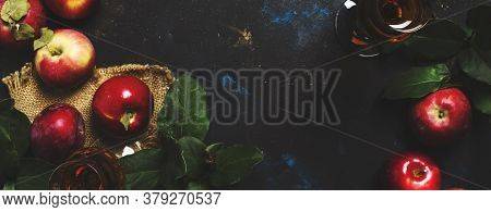 French Apple Brandy, Dark Background, Top View, Panoramic Banner With Copy Space