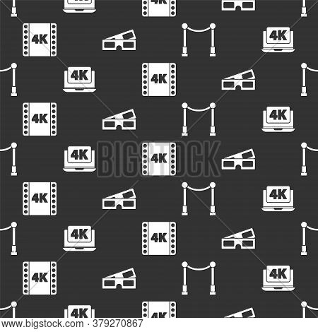 Set Carpet With Barriers, Laptop With 4k Video, 4k Movie, Tape, Frame And 3d Cinema Glasses On Seaml