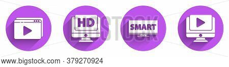 Set Online Play Video, Monitor With Hd Video, Screen Tv With Smart Video And Online Play Video Icon