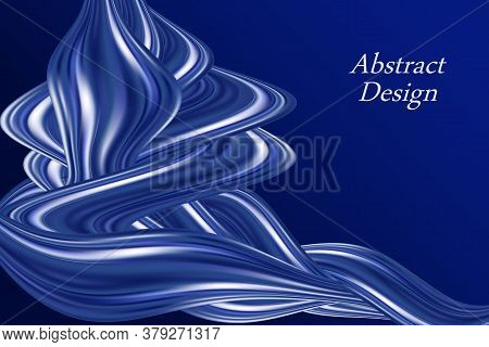 Blue Color Flow Wavy Swirl, Modern Background. Smooth Silk Texture With Luxury Pearl Shine. Abstract