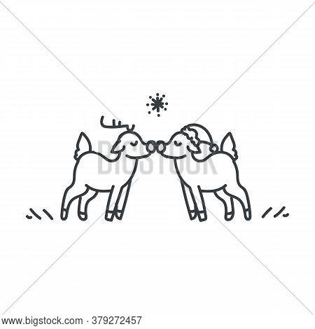 Seamless Reindeer Couple Illustration Clipart. Simple Gender Neutral Nursery Festive Scrapbook Stick