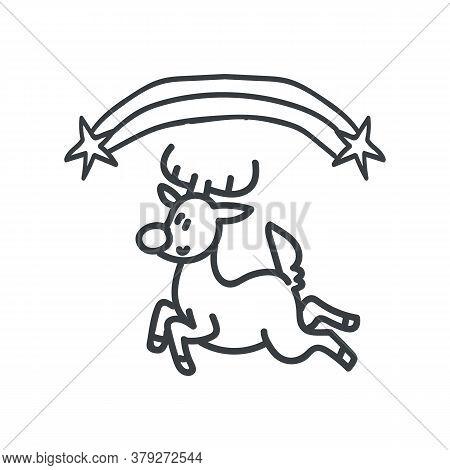 Seamless Winter Reindeer Illustration Clipart. Simple Gender Neutral Nursery Festive Scrapbook Stick