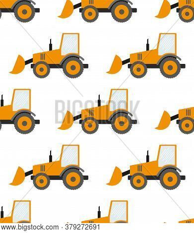 Seamless Pattern With Construction Tracks: Dipper, Bulldozer, Tractor, Excavator, Concrete Mixer. Fl