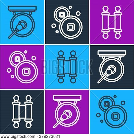 Set Line Gong, Decree, Paper, Parchment, Scroll And Chinese Yuan Currency Icon. Vector